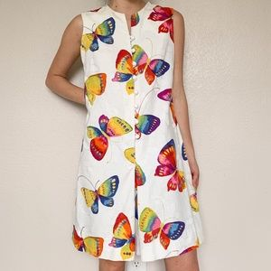 70's Vintage Butterfly Front Buttons Shift Dress